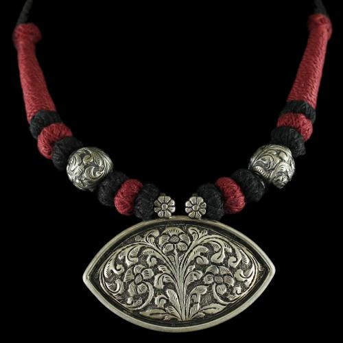 Silver Oxidized Fancy Design Thread Necklace