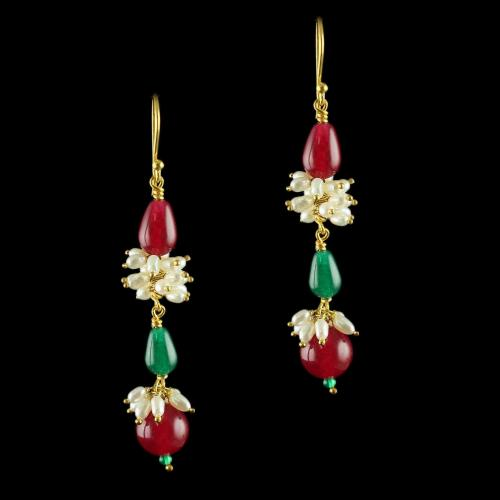Silver Gold Plated Fancy Design Hooks Earrings Studded Pearls and Green Beads
