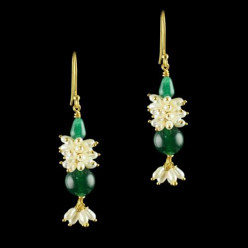 Silver Gold Plated Floral Design Beads Hanging Earrings
