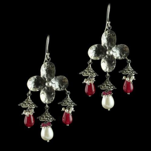 Silver Oxidized Fancy Hanging Earrings Studded Pearl