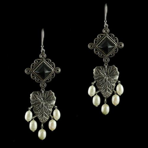 Silver Oxidized Floral Hanging Earrings Studded Pearl And Read Beads