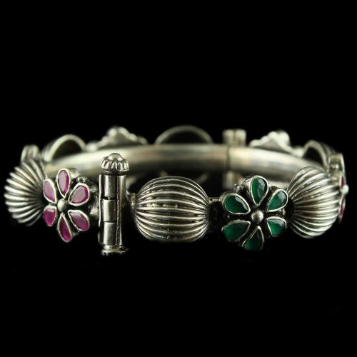 Silver Oxidized Fancy Bangle Studded Red And Green Onyx