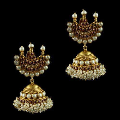 Silver Gold Plated Jhumka Earrings Studded Pearl And Red Onyx