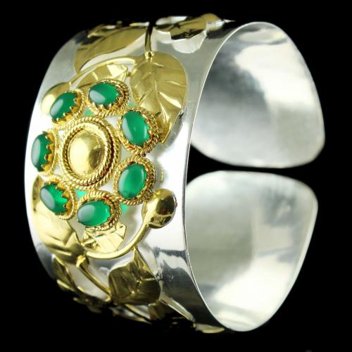Silver Gold Fancy Design Kada Studded Green Onyx