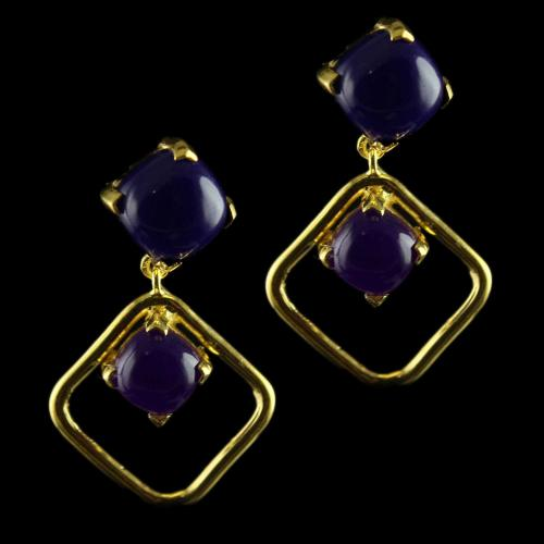 Silver Gold Plated Fancy Design Earrings Studded Onyx