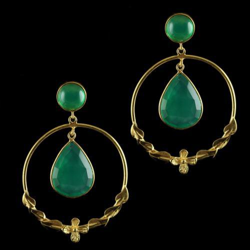 Silver Gold Plated Fancy Bali Earrings Studded Green Onyx Silver Gold Plated Fancy Bali Earrings Studded Green Onyx Silver Gold