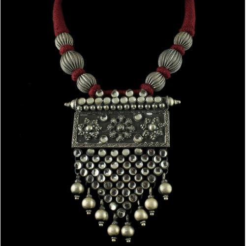Silver Oxidized Thread Necklace