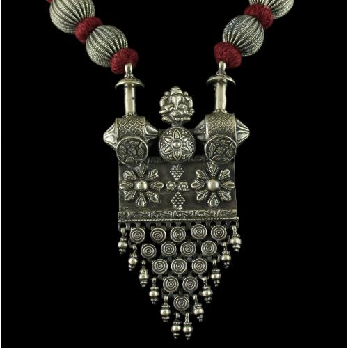 Silver Oxidized Fancy Jhumka Studded Pearl And Red Beads