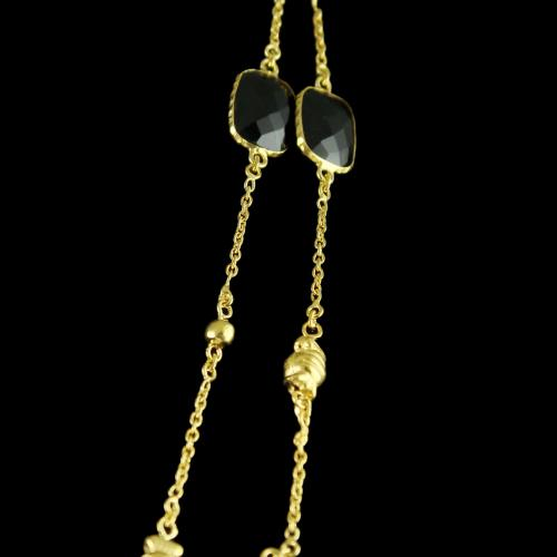 Silver Gold Plated  Fancy Design Necklace Black Onyx Stones