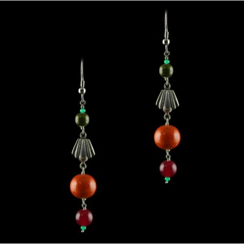 Silver Wooden Hanging Earrings With Onyx