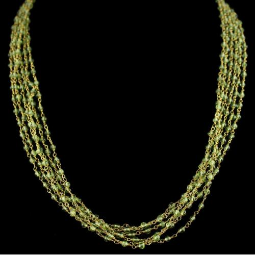 Silver Gold Plated Bunch Chain Necklace Peridot And Pearls