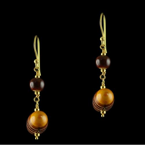 Wooden Hanging Earrings Studded Onyx Stones