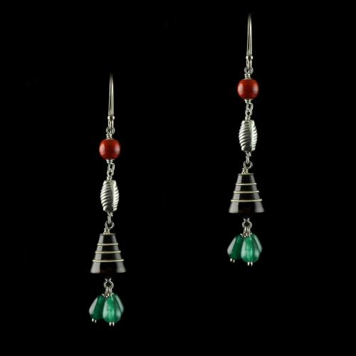 Silver Wooden Hanging Earrings Studded Onyx
