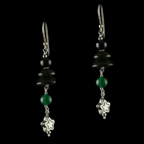 Silver Wooden Hanging Earrings Green Onyx Stones