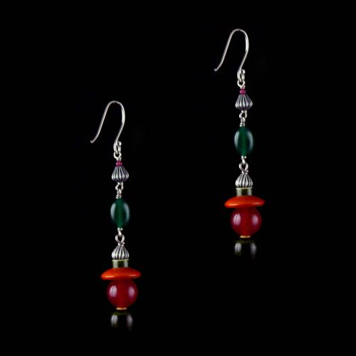Silver Wooden Hanging Earrings Studded Red Onyx And Green Beads