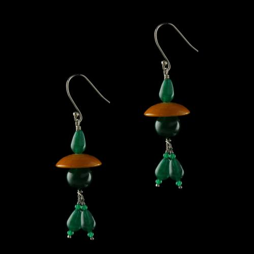 Silver Wooden Hanging Earrings Studded Green Onyx And  Beads