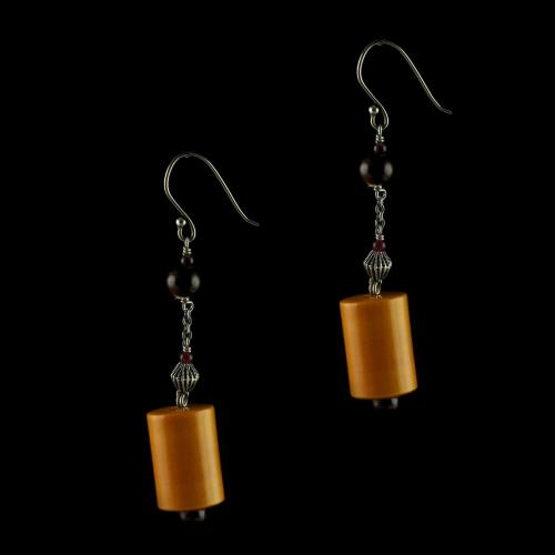 Silver Wooden Hanging Earrings Studded Ruby And  Beads