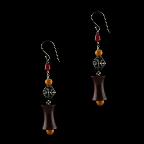 Silver Wooden Hanging Earrings Studded Green,Red Onyx And  Beads
