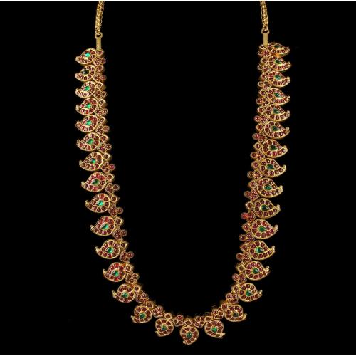 Gold Plated Mango Design Necklace Studded Onyx Stones