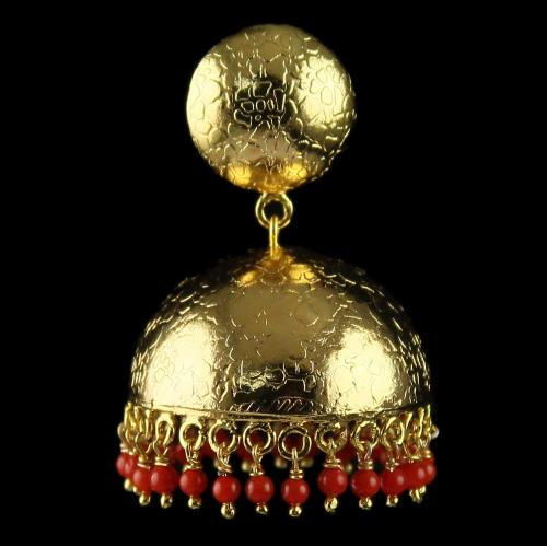 Silver Gold Plated Floral Design Jhumka Earrings With Coral Stones