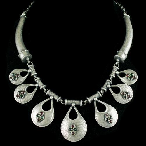 Silver Oxidized Fancy Design Necklace Studded Red Onyx
