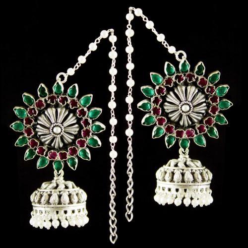 Silver Oxidized Fancy Design Earrings Jhumka  Studded Green, Red Onyx Stones