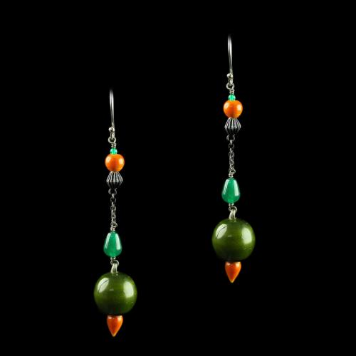 Silver With Wood Hanging Earrings And Organic Paints
