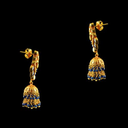 Silver Gold Plated Fancy Design Jhumka Studded Red Onyx Stones