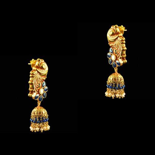 Gold Plated Peacock Jhumka Studded Semi Precious Stones