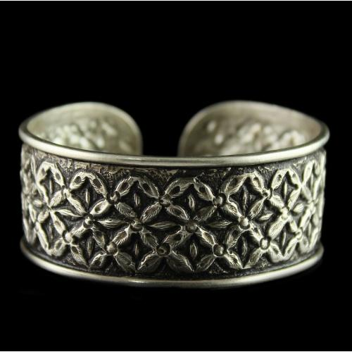 Silver Oxidized Fancy Design Kada Bangles