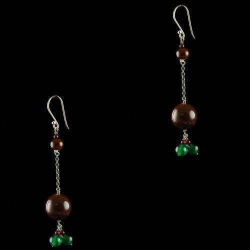 Silver Fancy Design Wooden Earrings Studded Onyx