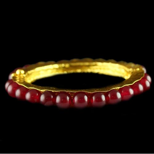Silver Gold Plated Bangle Studded Red Onyx