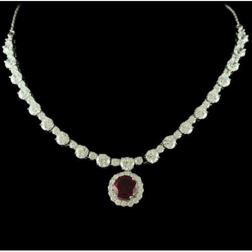 Silver Swarovski Design Necklace Zircon Stones