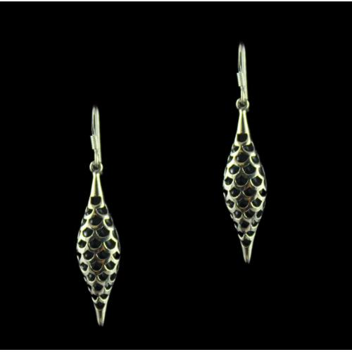 Silver Oxidized Fancy Design Hanging Earrings