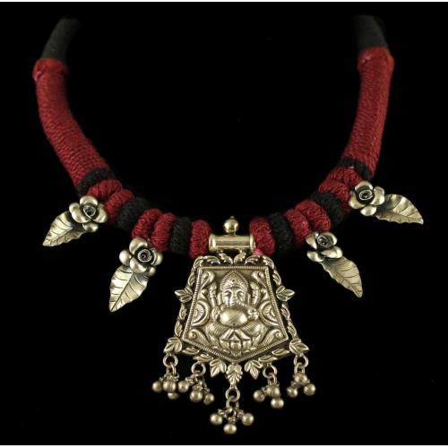 Silver Oxidized Fancy Thread Necklace