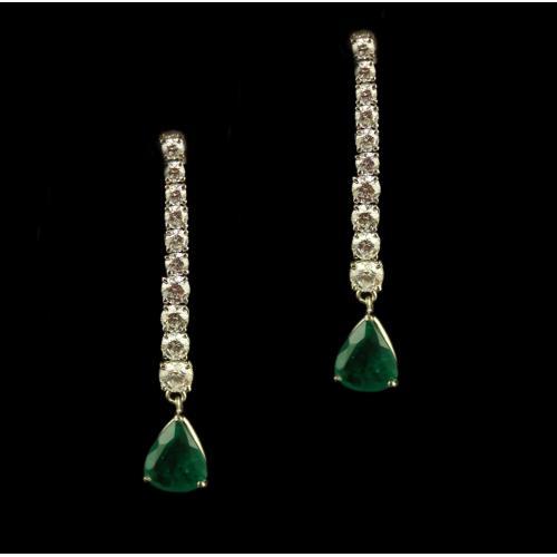 Silver Swarovski Zirconia And Green Stone Earrings