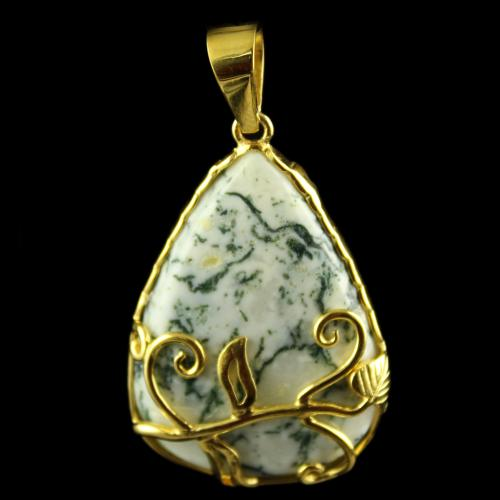 Silver Gold Plated Fancy Design Bangles Pendant Studded Tree Agate