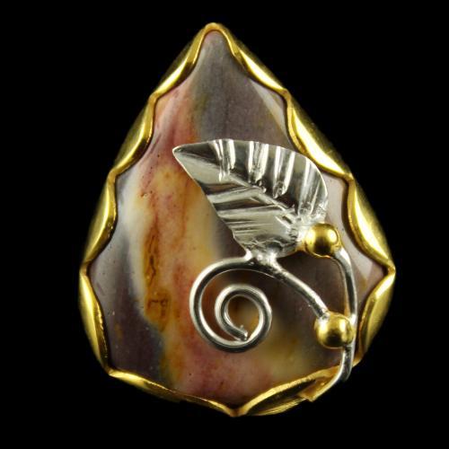 Silver Gold Plated Fancy  Ring Mokait Jasper