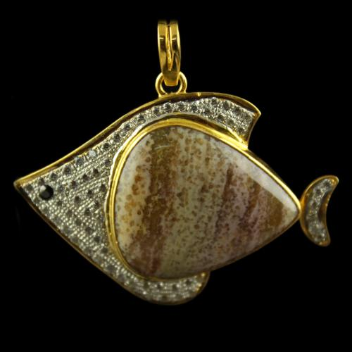 Silver Gold Plated Fancy Pendant Studded Peruvian Opal White CZ(65)