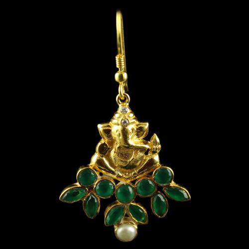 Silver Gold Plated Earring Studded ganesh Design Blue Round Blue Marquise Pearl White CZ