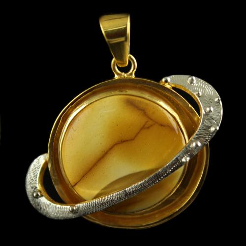 Silver Gold Plated Round  Design Pendant Studded Mokaite