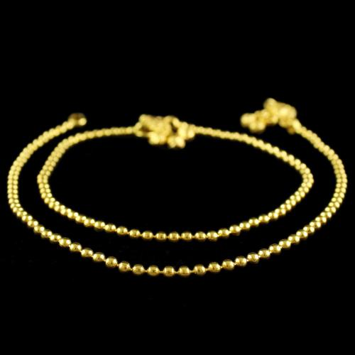 Gold Plated Ball Design Anklets
