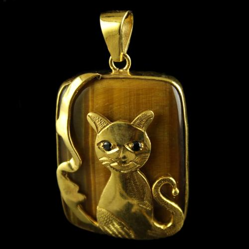Silver Gold Plated Cat Design pendant Studded Tiger Eye And Black Zircon Stones