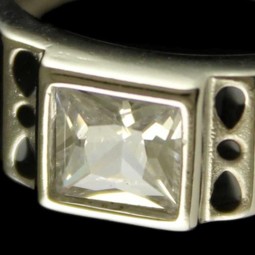 R6701 Sterling Silver Ring Studded Zircon Stones