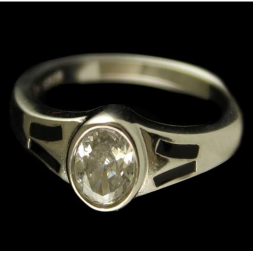 R6717 Sterling Silver Ring Studded Zircon Stones