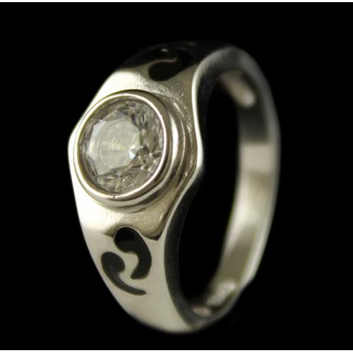 R6708 Sterling Silver Ring Studded Zircon Stones