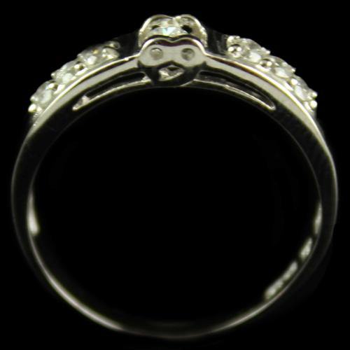 R4012 Sterling Silver Band Ring Studded Zircon Stones