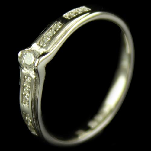 R15938 Sterling Silver Band Ring Studded Zircon Stones
