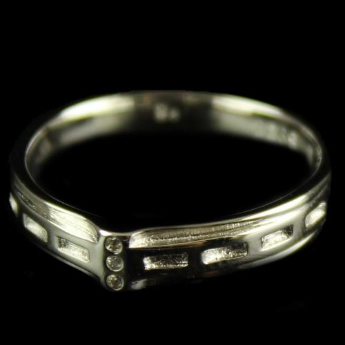 R13241 Sterling Silver band Ring Studded Zircon Stones