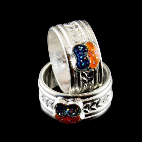 Silver Enamel Toe Rings